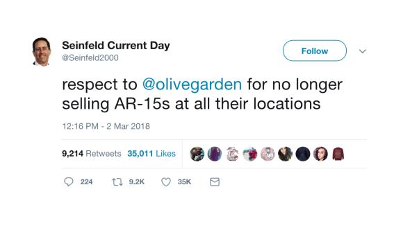 Seinfeld 2000's tweet about Olive Garden