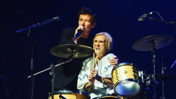 Mary Berry with Rick Astley at Bestival