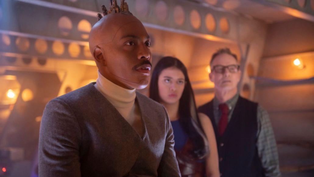 Jeremie Harris as Ptonomy Wallace, Amber Midthunder as Kerry Loudermilk, and Bill Irwin as Cary Loudermilk in FX's Legion