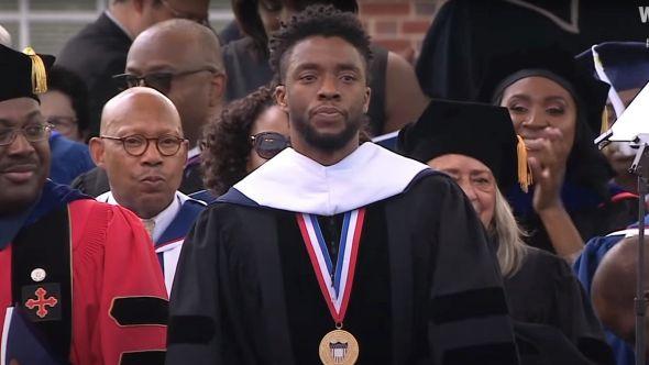 Chadwick Boseman gives Howard University commencement speech in 2018, photo via YouTube