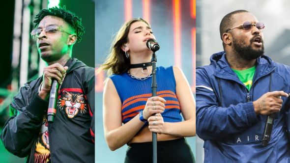 Gully soundtrack stream movie OST film songs music 21 Savage (photo by Philip Cosores), Dua Lipa (photo by Ben Kaye), and ScHoolboy Q (photo by Philip Cosores)